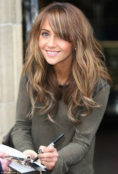 Light brown hair with blonde highlights. Love the bangs, too!