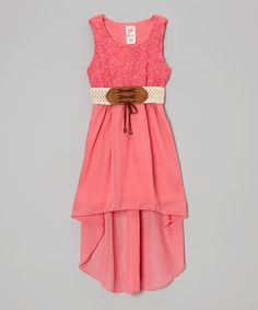 Coral Belted Hi-Low Dress