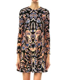 Long-sleeve printed a-line dress with flattering natural neckline.