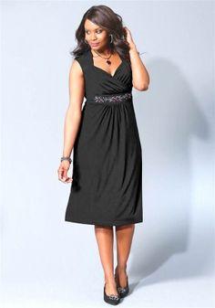 Společenské šaty pro plnoštíhlé v barvě černé M.I.M.