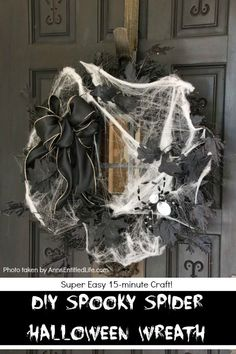 This simple to make homemade Halloween wreath is spook-tacular - and takes only 15 minutes to put together. If you are looking for easy do it yourself Halloween decor, look no further than this DIY Spooky Spider Halloween Wreath, and make one today! Diy Halloween Door Decorations, Scary Decorations, Halloween Themes, Halloween Wreaths, Halloween Crafts, Halloween Party, Disney Halloween, Halloween 2018, Homemade Halloween