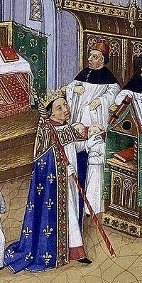 Robert le Pieux à l'office dans la cathédrale d'Orléans. Jean Fouquet 15°s_ Les déboires conjugaux de Robert le Pieux avec Rozala d'Italie et Berthe de Bourgogne (qui lui valurent une menace d'excommunication) puis la mauvaise réputation de Constance d'Arles, contrastent étrangement avec l'aura pieuse, à la limite de la sainteté, que veut bien lui prêter son biographe Helgaud de Fleury dans la Vie du roi Robert le Pieux.