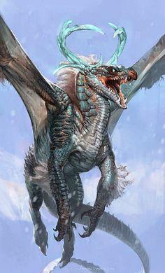 Fantasy Illustrations by Jaemin Kim Dragon Beast, Fantasy Wesen, Dragon Medieval, Ice Dragon, Snow Dragon, Drawn Art, Cool Dragons, Dragons Den, Dragon Artwork