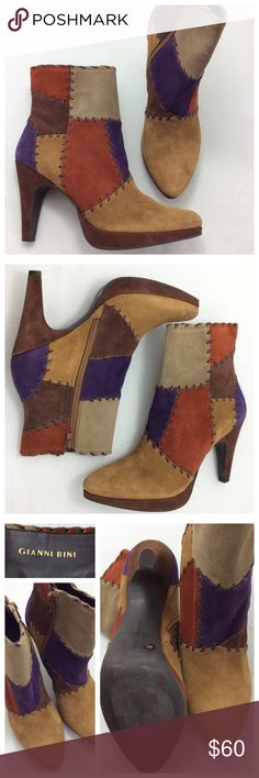 """Gianni Bini Suede Patchwork Booties These boots are gorgeous. Truly stunning suede Patchwork style exterior in natural hues with a minimal pop of purple, leather stitching. Inside zipper and slightly pointed toe. Half inch front platform with 3.5"""" covered heel. Excellent condition. Gianni Bini Shoes Ankle Boots & Booties"""