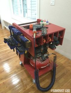 I designed and built this rolling work cart to hold my air compressor, nail guns, drills and other various tools as well as screws, nails and all the other necessary accessories that I use on pretty much a daily basis. I've been using it for about a month now. I wanted to test out it's …