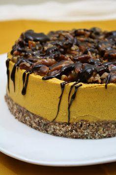 No bake vegan pumpkin cheesecake with gooey caramel pecans.