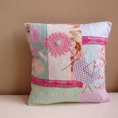 Blue and pink patchwork bird cushion By Roxy Creations