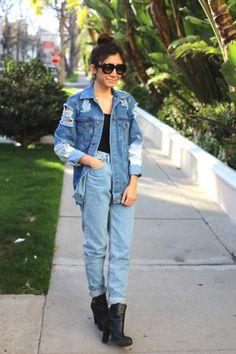 Denim on denim is back. Rock it with vintage coat and mom jeans
