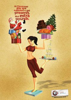 R2 Fitness Club: Christmas Girl. At Christmas you are supposed to get presents. Not extra pounds. Advertising Agency: RGA Comunicacao, Pernambuco, Brazil.
