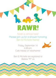 @Christa Crawford And @Amanda Wartenbe These Are The Invites Iu0027m Getting! Dinosaur  Baby ShowersDinosaur PartyBoy ShowerOctober ...