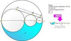 Math Education Geometry Problem 812: Four Tangent Circles, Common Tangent Line, Diameter, Area, Collinear Centers. Level: High School, Honors Geometry, College, Mathematics Education. Distance learning.