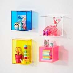 Shop Square Away Acrylic Cube Shelf. These acrylic wall shelves make it easier than ever to square away your home. Available in a variety of sizes and colors, these acrylic wall shelves can be configured any way you want. Cube Wall Shelf, Wall Cubes, Cube Shelves, Cube Storage, Wall Storage, Glass Shelves, Wall Shelves, Shelving, Nursery Shelves