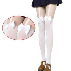 Bas Collants Women Sexy Black White Stockings Thin Tights Lady's Bow Pantyhose Tattoo Mock Bow Suspender Sheer Stocking