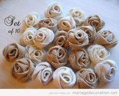 Fleurs en jute DIY pour décorer un mariage                                                                                                                                                                                 Plus