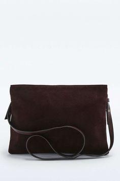 Grand sac bandoulière en daim bordeaux