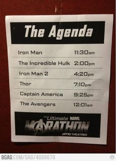 If a person found herself with a bit of time on her hands... Avengers/Phase 1 Marathon. (AMC Theater's Ultimate Marvel Marathon)