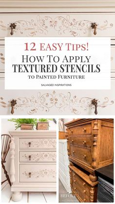 How To Apply Stencil Texture to Painted Furniture - Salvaged Inspirations Cheap Furniture Makeover, Diy Furniture Renovation, Paint Furniture, Furniture Projects, Furniture Decor, Furniture Design, Furniture Update, Diy Projects, Diy Nightstand