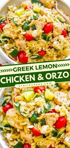 This 30-minute meal is a winner! Packed with so much lemon flavor with a classic Greek touch, this chicken and orzo is perfect for any menu. Plus, this dinner idea feeds a crowd! Save this easy pasta salad recipe! Greek Lemon Chicken, Cooking Recipes, Healthy Recipes, Cooking Games, Fast Recipes, Simple Recipes, Mediterranean Diet Recipes, Pasta Dishes, Chicken Recipes
