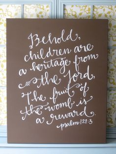 I'm in love with this one! Great for a nursery or child's room.  24x30 Scripture art on canvas // Bible verse room by BeanstalkLoft, $107.00