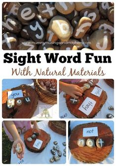 Looking for a fun alternative to sight word flashcards? Make these easy letter stones, follow the activity ideas and get outside for a little play based learning instead! Letter C Activities, Sight Word Activities, Childcare Activities, Nature Activities, Spring Activities, Learning Activities, Reggio Emilia Classroom, Reggio Inspired Classrooms, Play Based Learning