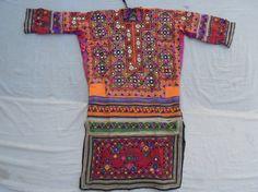 Vintage Banjara Tribal Dress , Old Mirror Handmade Pakistani Dress , Belly Dance Choli Blouse Dress, Banjara Yoke Fabric Applique Patch