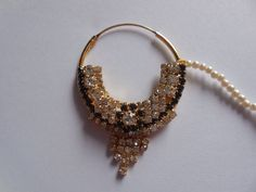 Beautiful! indian nose Nath for Pierced nose-Bridal Nose Ring with Pearl chain-Septum Ring-Decorated gemstone nose jewellry by Gemstonebeadsfinding on Etsy