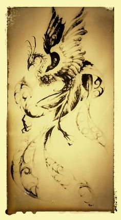 Phoenix, sumi, brush, tattoo, tattoo design, brush strokes, タトゥー, 刺青, 鳳凰, 水墨画, tattoo artwork, japanesestyle phoenix