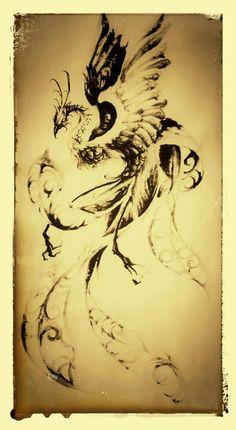 大阪 タトゥー 刺青 鳳凰 水墨画 tattoo artwork japanesestyle phoenix