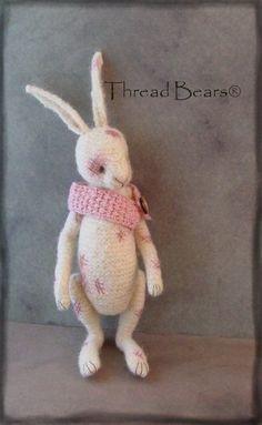 Primiteds by Sue Aucoin--thread artist bear. Custom order Thread Bears® rabbit.