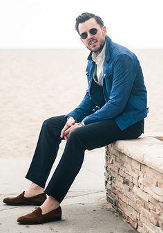 【大人きれいめ】青Gジャン×ジレ・紺パンツの春コーデ(メンズ) | Italy Web