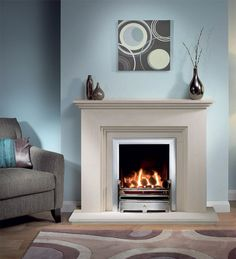 Cranbourne Limestone Fireplace Package With Gas Fire Cream colour - not white Chrome/silver fire surround Living Dining Room, Living Room With Fireplace, Fireplace Suites, Corner Fireplace Makeover, Front Rooms, Wooden Fireplace, Oak Fire Surround, Fireplace, Classic Fireplace