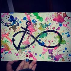 Paint splatter an infinity sign with an anchor inside !! Change it to a crescent for Gamma Phi