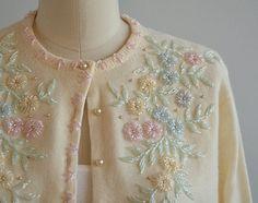 Vintage Beaded Cardigan / Cream Pastel by zestvintage Embroidery On Kurtis, Kurti Embroidery Design, Hand Embroidery Videos, Hand Work Embroidery, Embroidery Fashion, Beaded Embroidery, Dress Neck Designs, Blouse Designs, Flower Nail Designs