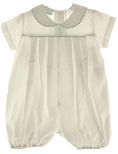 Hiccups Childrens Boutique - Infant Boys White Pleated Romper Blue Trim Claire