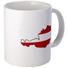 Flag Map of Austria Mug> Austria> Vectors NZ Teapots, Austria, Flags, Vectors, Cups, Products, Mugs, National Flag, Gadget