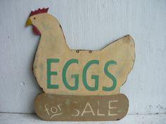 Antique Vtg Farm Trade Sign Fresh Eggs for Sale Chicken Old Folk Art AAFA | eBay