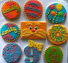 Amazing Lorax cookies!    http://www.facebook.com/HayleyCakesAndCookies