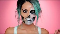 If you start practicing now, you might be ready to debut Desi Perkins' creepy melting skull makeup for Halloween.