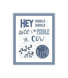 Hey Diddle Diddle Nursery Rhyme Print, 11x14 Mother Goose Nursery Rhyme Art, Blue Toddler Boy Room Decor, Baby Boy Poster, little boy quotes on Etsy, $27.53 AUD