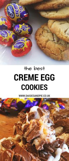 """2 images - one white plate with five freshly baked creme egg cookies alongside a pile of Creme Eggs still wrapped in their foil, other image showing wooden chopping board with chopped up creme eggs. Text overlay saying """"the best creme egg cookies"""""""