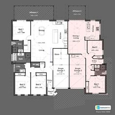 Discover our entire range of Dual Occupancy House Plans designed for the Perth metro area . From Single storey studio's to custom granny flats attached to the main home. We offer Double Storey and house behind house special purpose duplex style designs. Family House Plans, New House Plans, Dream House Plans, Small House Plans, Family Houses, Tiny Houses, Duplex Floor Plans, Home Design Floor Plans, House Floor Plans