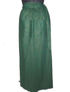 Bohemian ethnic maxi wrap skirt in green and gold