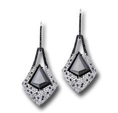 BLACK AND WHITE DIAMOND EARRINGS WITH KITE SHAPE BLACK DIAMONDS AND OVER 700 MICRO SET DIAMONDS.
