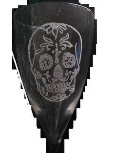 Calice cristallo con disegno teschio maschile. rivisitato. #serigrafato a mano libera