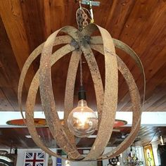 Light Fixture from Old Wine Barrel