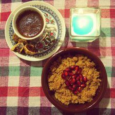 my dessert: İrmik Helvası (made from semolina) and Turkish coffee