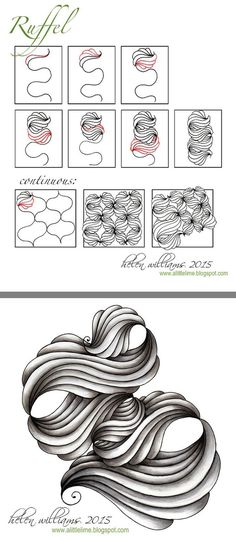 Ruffle by Helen Williams Tangle Doodle, Tangle Art, Zen Doodle, Doodle Art, Zentangle Drawings, Doodles Zentangles, Doodle Drawings, Doodle Inspiration, Doodle Patterns