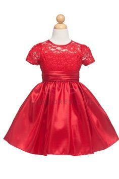 Red Elegant Poly Lace Top Taffeta Skirt Holiday Dress with Sleeves JJ1216-RD - Red Flower Girl Dresses @Sara Eriksson Candelaria