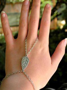 Silver Slave Bracelet Ring Leaf Charm Ring Bracelet Hand Harness