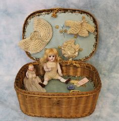 Antique 5  All Bisque Kestner German Doll 110 in Basket Trousseau, Baby + Extras